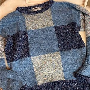 •Vintage• DEB Blue Colorblock 80's Sweater Sz L